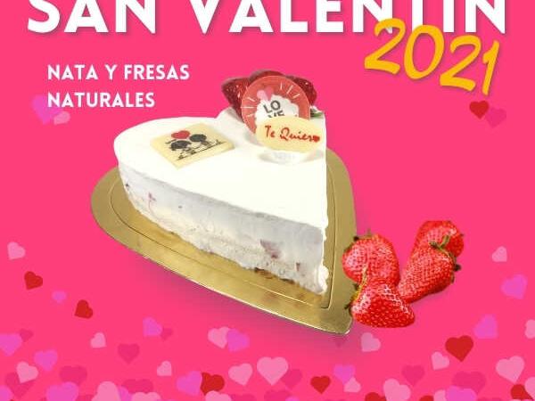 Tarta San Valentin Nata y Fresas Naturales - RioGrande Pastelería Córdoba