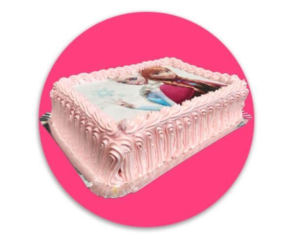 Tarta Cuadrada Frozen Rosa - RioGrande Pastelería Córdoba