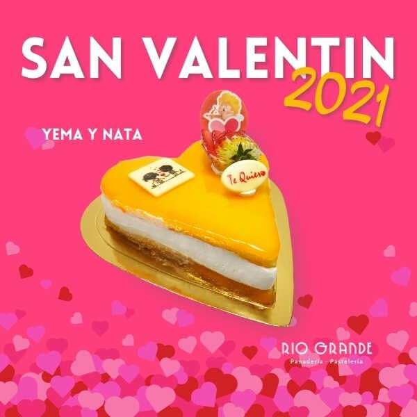 Tarta San Valentin Yema y Nata - RioGrande Pastelería Córdoba